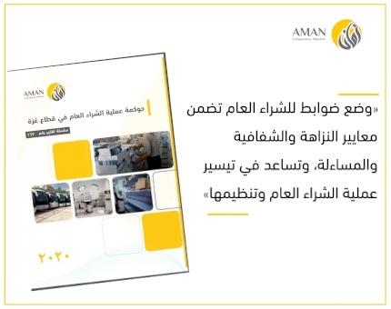 أمان يوصي بوضع ضوابط للشراء العام تضمن معايير النزاهة والشفافية والمساءلة في قطاع غزة